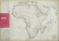 RARE FOLDING MAP OF AFRICA  WITH JAMES COOKS'S ROUTES