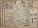 NORTHUMBERLAND ORIGINAL MAP  BY SPEED  SUDBURY & HUMBLE
