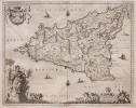 SICILY   JANSSONIUS   STUNNING RARE MAP