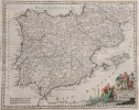 ALBRIZZI MAP OF SPAIN 1740